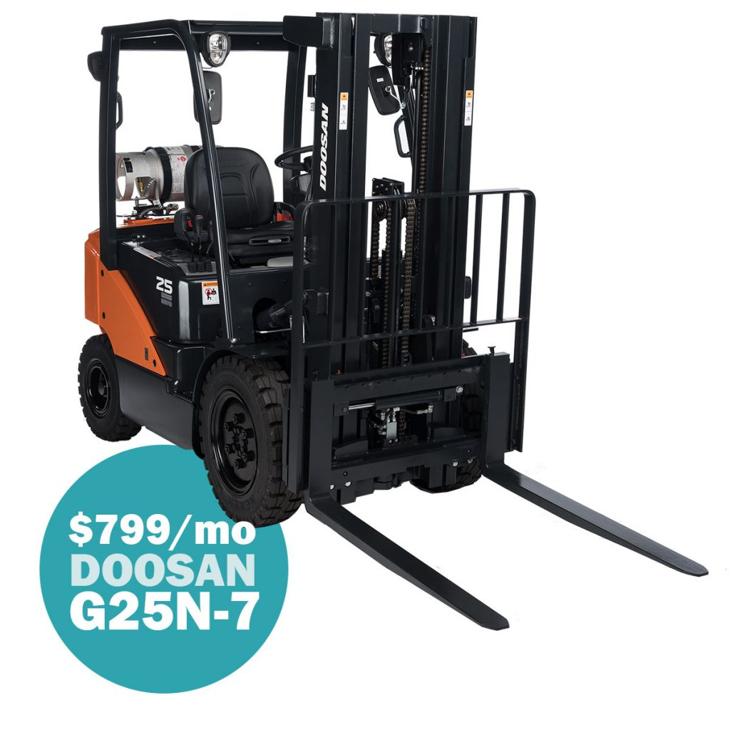 rent to own program deal forklift with a monthly payment in a circle