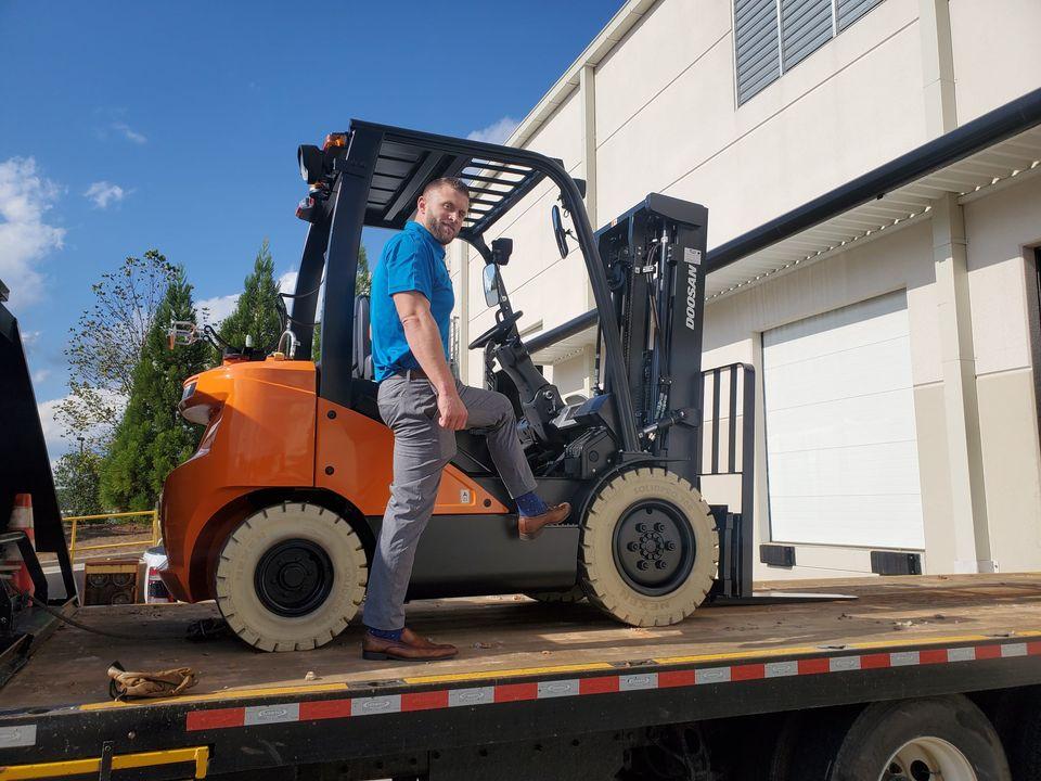 Doosan Forklift Delivered On a Flatbed